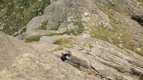 Ένα ανιδιοτελές άτομο αναρριχείται στην κορυφή του απότομου βράχου χωρίς ένα σχοινί απόθεμα βίντεο