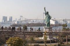 Ένα αντίγραφο του αγάλματος ελευθερίας στην περιοχή Odaiba, Τόκιο, Ιαπωνία Στοκ Φωτογραφίες