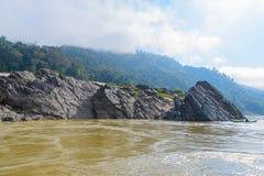 ένα από τα καλύτερα μέρη του mekong ποταμού: ο όμορφος, ζάλη Στοκ Φωτογραφία