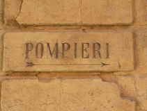 Ένα αρχαίο λογότυπο πυροσβεστών στην Ιταλία στοκ φωτογραφία με δικαίωμα ελεύθερης χρήσης