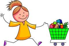 Ένα αστείο κορίτσι τρέχει με το κάρρο αγορών Στοκ Φωτογραφία