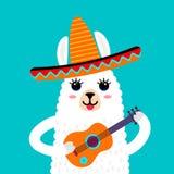 Ένα αστείο ρύγχος της llama προβατοκαμήλου σε έναν μόνος-τον ετερόφθαλμο γάδο με μια μεξικάνικη κιθάρα Πρότυπο για την τυπωμένη ύ απεικόνιση αποθεμάτων