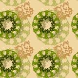 Ένα ασυνήθιστο άνευ ραφής σχέδιο υπό μορφή πράσινων και καφετιών αριθμών για ένα μπεζ υπόβαθρο διανυσματική απεικόνιση