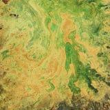 Ένα ασυνήθιστο υπόβαθρο με τα πορτοκαλιά και πράσινα διαζύγια Λεκέδες και λεκέδες Στοκ Εικόνες