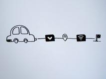 Ένα αυτοκίνητο σχεδίων και ένα μικρό έγγραφο που μιμούνται ως κάρτα SIM Δολάριο, W Στοκ εικόνα με δικαίωμα ελεύθερης χρήσης