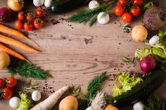 Ένα δαχτυλίδι των φρέσκων και juicy λαχανικών σε ένα ξύλινο υπόβαθρο Στοκ εικόνες με δικαίωμα ελεύθερης χρήσης