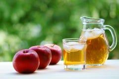 Ένα βάζο και ένα σύνολο γυαλιού του φρέσκου χυμού μήλων κόκκινο μήλων Στοκ Φωτογραφία