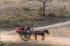 Ένα βαγόνι εμπορευμάτων αλόγων σε Bagan, το Μιανμάρ Στοκ Εικόνες