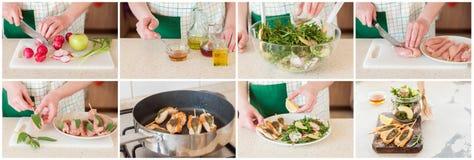 Ένα βαθμιαία κολάζ της παραγωγής των οβελιδίων κοτόπουλου με τη σαλάτα Στοκ Εικόνες