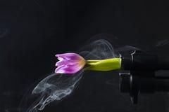 Ένα βαρέλι κυνηγετικών όπλων αντλιών, το οποίο βγαίνει από τον καπνό και τη ρόδινη τουλίπα στοκ φωτογραφίες