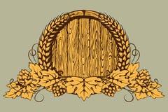 Ένα βαρέλι της μπύρας, αυτιά του σίτου και λυκίσκοι Στοκ εικόνα με δικαίωμα ελεύθερης χρήσης