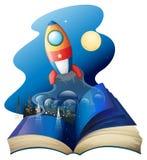 Ένα βιβλίο με έναν πύραυλο ελεύθερη απεικόνιση δικαιώματος