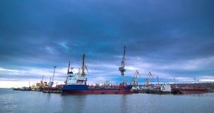 Ένα βιομηχανικό τερματικό θάλασσας με τους γερανούς φορτίου και τα βαγόνια εμπορευμάτων εμπορευματοκιβωτίων σιδηροδρόμου στο ηλιο απόθεμα βίντεο