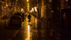 Ένα βροχερό βράδυ στο Άμστερνταμ Στοκ εικόνα με δικαίωμα ελεύθερης χρήσης