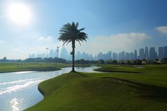 Ένα γήπεδο του γκολφ στο Ντουμπάι με τους φοίνικες και τους ουρανοξύστ στοκ φωτογραφία με δικαίωμα ελεύθερης χρήσης