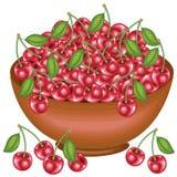 Ένα γενναιόδωρο πλήρες κύπελλο συγκομιδών των όμορφων juicy κερασιών Γλυκά κόκκινα μούρα, μια πηγή βιταμινών και myctoelements r διανυσματική απεικόνιση