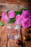 Ένα γυαλί των φρούτων πόσιμου νερού και ημερομηνίας - παραδοσιακά τρόφιμα Ramadan Εκλεκτική εστίαση Στοκ Φωτογραφίες