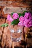 Ένα γυαλί των φρούτων πόσιμου νερού και ημερομηνίας - παραδοσιακά τρόφιμα Ramadan Εκλεκτική εστίαση Στοκ Εικόνες