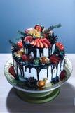 Ένα γυμνό κέικ σε μια στάση, ένα γαμήλιο κέικ με την άσπρη κρέμα, σοκολάτα και φρούτα, ένα μπλε σχέδιο σε ένα μπλε υπόβαθρο, μια  Στοκ εικόνες με δικαίωμα ελεύθερης χρήσης