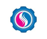Ένα διάνυσμα εικόνας λογότυπων μιας φλόγας μέσα σε ένα εργαλείο στο κόκκινο και μπλε χρώμα ελεύθερη απεικόνιση δικαιώματος