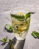 Ένα δροσερό ποτό που αποσβήνει τη δίψα μια καυτή ημέρα με melissa και τα λεμόνια με ένα σχέδιο γυαλιού με ένα θερινό σχέδιο Πυροβ στοκ φωτογραφία με δικαίωμα ελεύθερης χρήσης