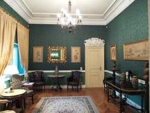 Ένα δωμάτιο στο παλάτι Iulia Hasdeu στοκ φωτογραφίες