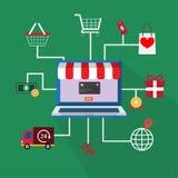 Ένα εικονίδιο συμβόλων για on-line να ψωνίσει Στοκ Φωτογραφία