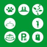 Ένα εικονίδιο της απεικόνισης αντικειμένου τουρισμού με το πράσινο υπόβαθρο Στοκ φωτογραφίες με δικαίωμα ελεύθερης χρήσης