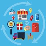 Ένα εικονίδιο συμβόλων για on-line να ψωνίσει Οι λειτουργίες επιχείρησης θεάματος μπορούν να χρησιμοποιηθούν στα διάφορα μέσα Έτσ Στοκ Φωτογραφία