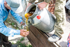 Ένα εμπορευματοκιβώτιο με ένα γλυκό γλυκό μέλι Μελισσοκόμος εργασίας Θεραπεία του προϊόντος της μελισσοκομίας Μαΐου, μέλι λουλουδ Στοκ εικόνα με δικαίωμα ελεύθερης χρήσης