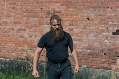 Ένα επιθετικό πρόσωπο με μια γενειάδα στην κίνηση στοκ εικόνα
