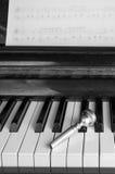 Ένα επιστόμιο σαλπίγγων επάνω στα κλειδιά πιάνων, κλείνει επάνω Στοκ Εικόνα