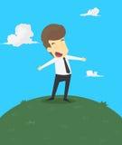Ένα επιχειρησιακό άτομο με την ευτυχία στη ζωή απεικόνιση αποθεμάτων