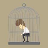Ένα επιχειρησιακό άτομο που παγιδεύεται σε ένα κλουβί, χωρίς ελευθερία διανυσματική απεικόνιση