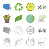 Ένα εργοστάσιο επεξεργασίας, λουλούδια σε ένα δοχείο, ένα πράσινο φύλλο, ένας πλανήτης Γη Εικονίδια βιο και συλλογής οικολογίας κ Στοκ εικόνες με δικαίωμα ελεύθερης χρήσης