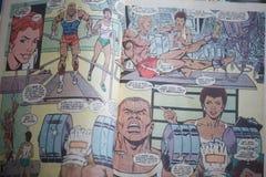 Ένα εσωτερικό του κόμικς superhero τιτάνων εφήβων που χαρακτηρίζει μερικούς μαύρους χαρακτήρες, που παράγεται από το συνεχές ρεύμ στοκ φωτογραφία
