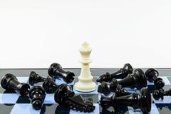 Ένα λευκό κερδίζει το σκάκι των Μαύρων Στοκ Εικόνα
