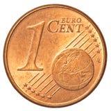 Ένα ευρο- νόμισμα σεντ Στοκ Εικόνες