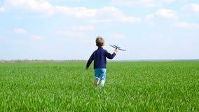 Ένα ευτυχές παιδί κρατά ένα αεροπλάνο παιχνιδιών στο χέρι του, τρέχει αργά κατά μήκος ενός πράσινου χορτοτάπητα, μιμένος την πτήσ απόθεμα βίντεο