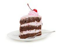 Ένα εύγευστο κομμάτι του κέικ σοκολάτας με την κρέμα κερασιών και κονσερβοποιημένος Στοκ εικόνες με δικαίωμα ελεύθερης χρήσης