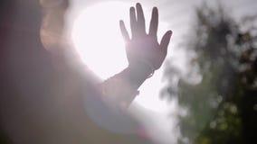 Ένα ζαλίζοντας νέο κορίτσι σε ένα άσπρο φόρεμα εξετάζει τον ήλιο μέσω των δάχτυλων του χεριού της Αστείες και συναισθηματικές σκη απόθεμα βίντεο