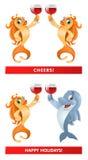Ένα ζευγάρι του goldfish και ενός δελφινιού που δίνει τις ευθυμίες μιας φρυγανιάς! Ευτυχές Χ Στοκ Φωτογραφίες