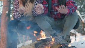 Ένα ζευγάρι των νέων με τα χειμερινά ενδύματα στα ξύλα, θερμαίνει τα χέρια τους από την πυρκαγιά, ένα χειμερινό πικ-νίκ απόθεμα βίντεο