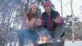 Ένα ζευγάρι των νέων στα κόκκινα πουκάμισα στα ξύλα, θερμαίνει τα χέρια τους από την πυρκαγιά, ένα χειμερινό πικ-νίκ απόθεμα βίντεο