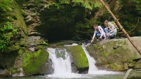 Ένα ζευγάρι των νέων τουριστών απολαμβάνει τη φύση στο δάσος κοντά σε έναν μικρό απόθεμα βίντεο