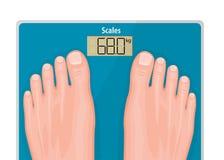 Ένα ζευγάρι των ποδιών στις κλίμακες λουτρών scale_Blue και τα φυσικά καρφιά Στοκ εικόνα με δικαίωμα ελεύθερης χρήσης