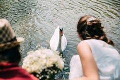 Ένα ζευγάρι των newlyweds με μια ανθοδέσμη των άσπρων τριαντάφυλλων κάθεται κοντά στη λίμνη Ο Κύκνος κολυμπά Στοκ Εικόνα