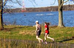 Ένα ζεύγος Jogging σε ένα πάρκο Στοκ Εικόνες