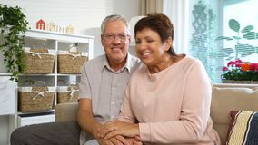 Ένα ηλικιωμένο ζεύγος επικοινωνεί με την τηλεοπτική κλήση lap-top απόθεμα βίντεο