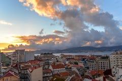 Ένα ηλιοβασίλεμα πέρα από το Vigo - την Ισπανία Στοκ φωτογραφία με δικαίωμα ελεύθερης χρήσης